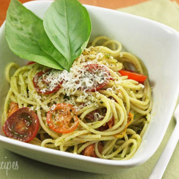 Spaghetti with Garlic Scape Pesto with Tomatoes. Calories 260 Calories ...