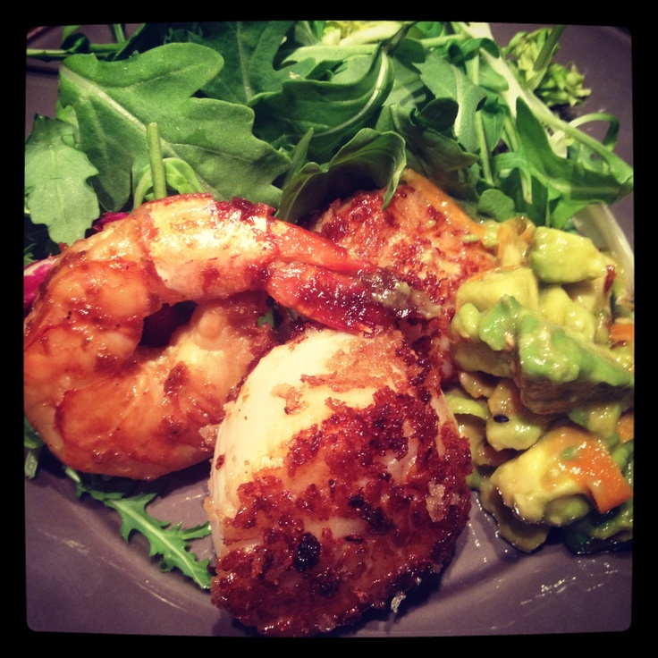 Butter seared scallops, soy ginger shrimp and Asian guac!