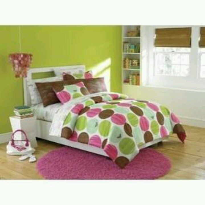 lime green hot pink and brown bedding