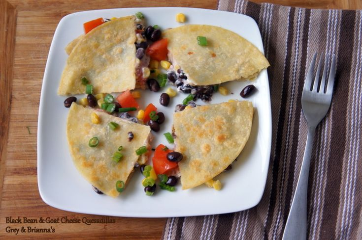 Black Bean and Goat Cheese Quesadillas. | Appetizers | Pinterest