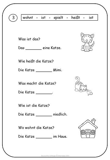 German for Beginners - Easy Reading - texts and worksheets