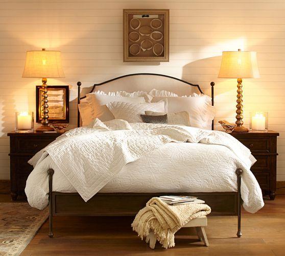 Valerie Floral Matelasse Duvet Cover & Sham | Pottery Barn - Bed & wood on wall