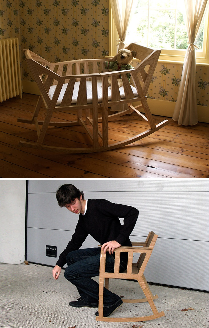 Baby cradle that breaks apart to form two rocking chairs once the little one outgrows it. By Martin Price.
