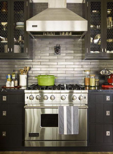 metallic subway tile backsplash kitchen space pinterest