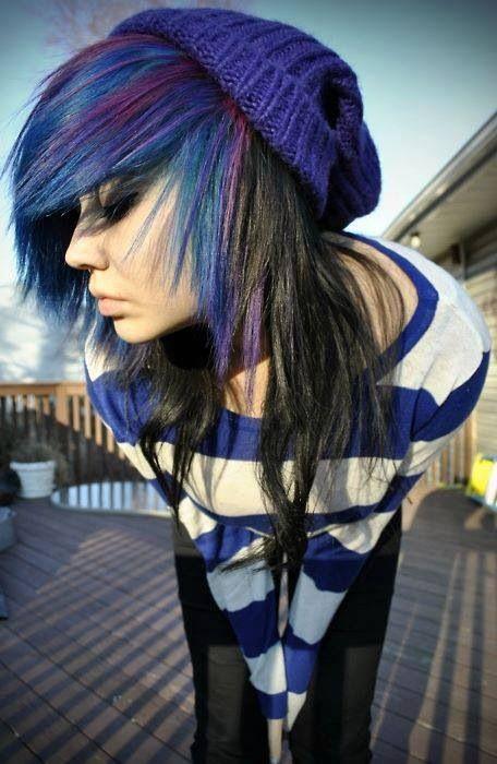 blue purple and black scene hair hair art pinterest