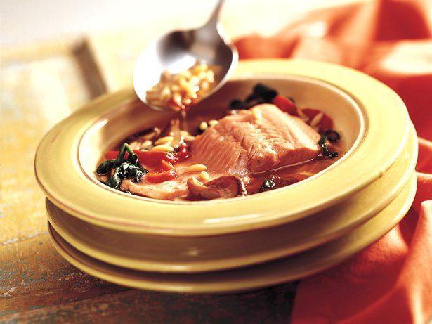 Poached Salmon in Orzo Broth (Cooking for 2) | Recipe