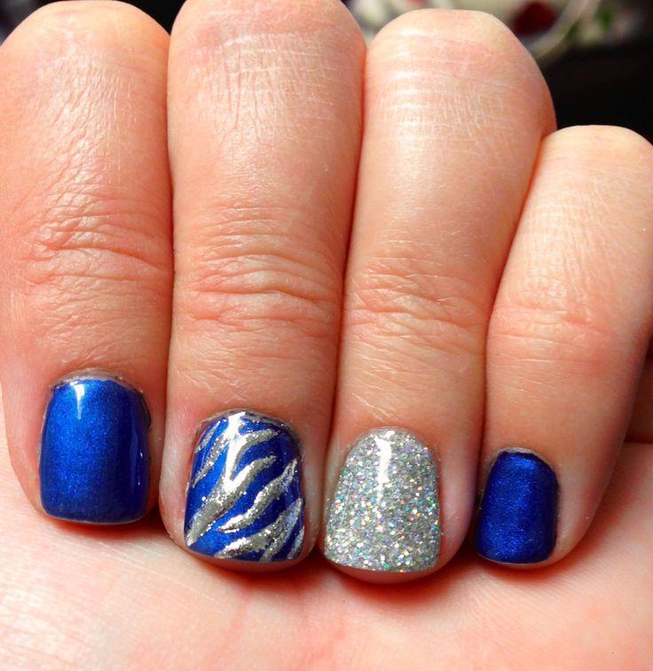 Blue and silver nails! Could be Dallas Cowboys nails?!