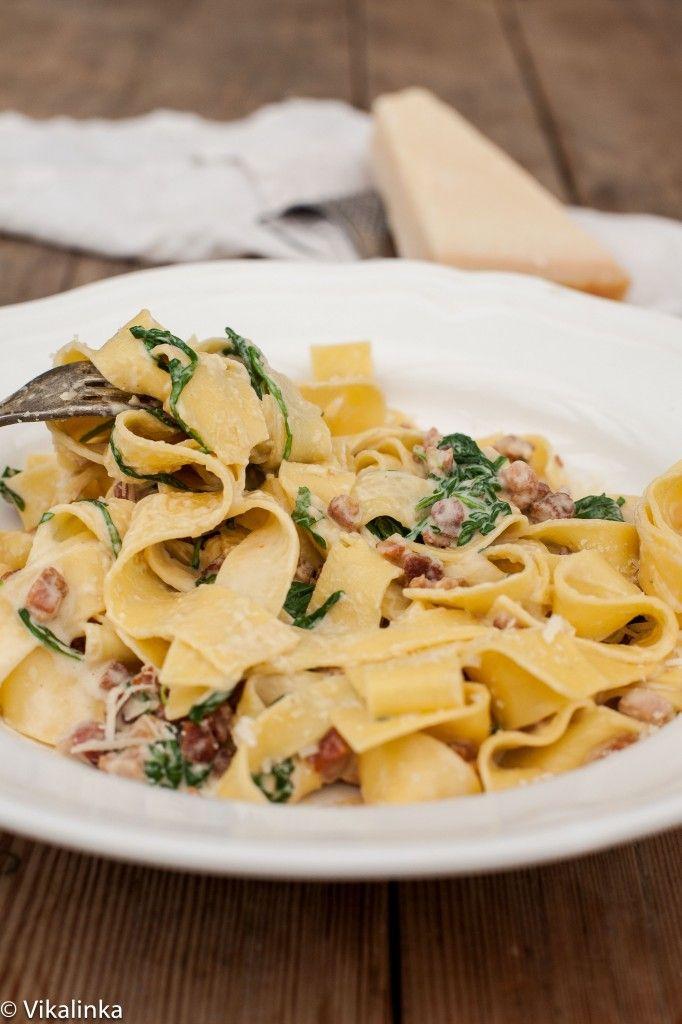 Fresh Pappardelle Carbonara with Arugula | Recipe