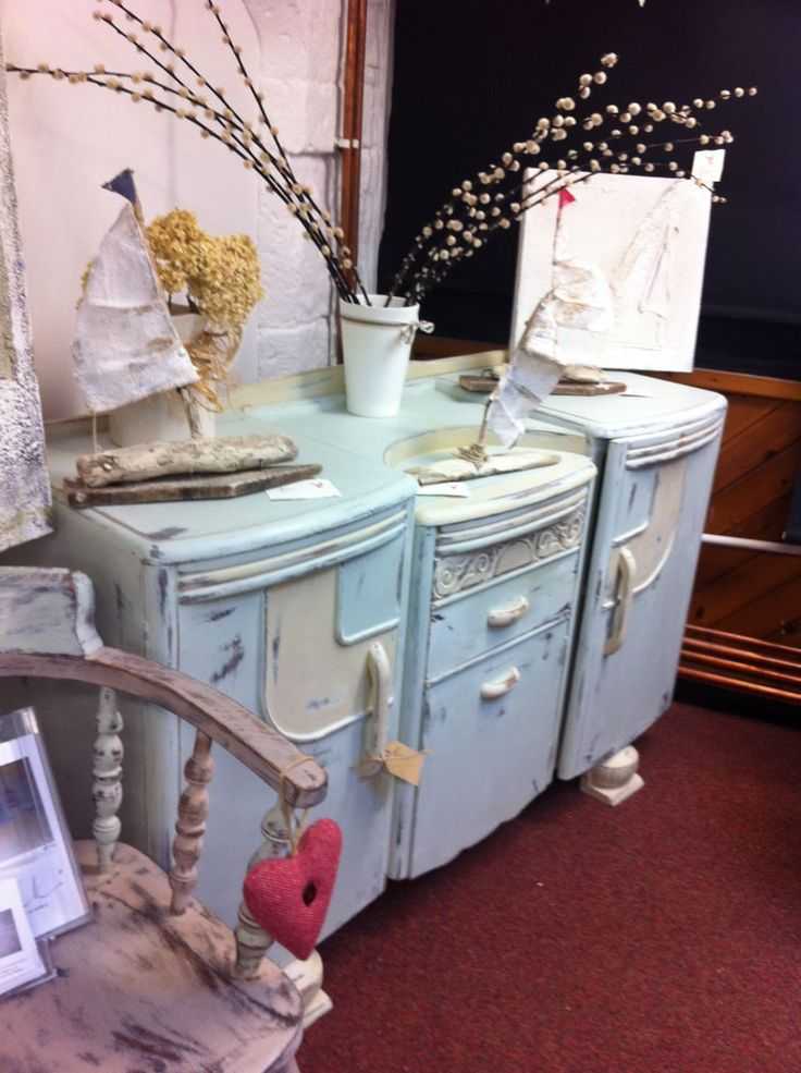 Old sideboard done in Annie Sloan Duck Egg Blue and Old Ochre.