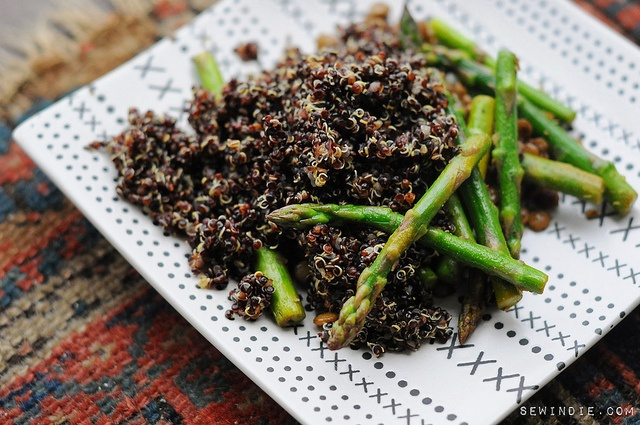 garlicky greens & red quinoa | Yummies | Pinterest