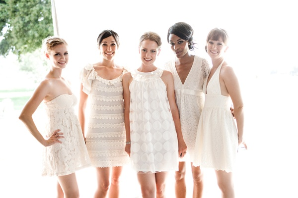 An All-White Bridal Party: Mismatched White Dresses For Bridesmaids