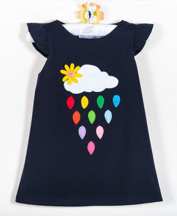 Toddler girl dress clouds and rainbow rain colourful by marvieshop, €32.00