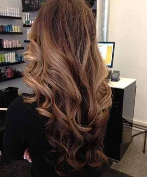 Warm ombre caramel brown hair