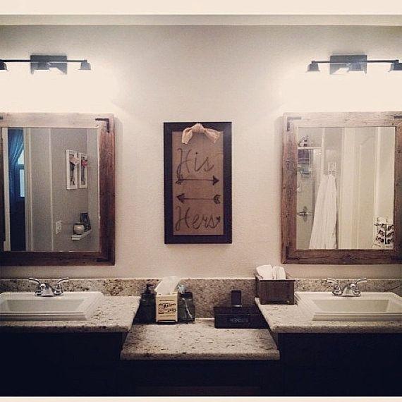 30x36 Bathroom Mirror Set Reclaimed Wood Framed