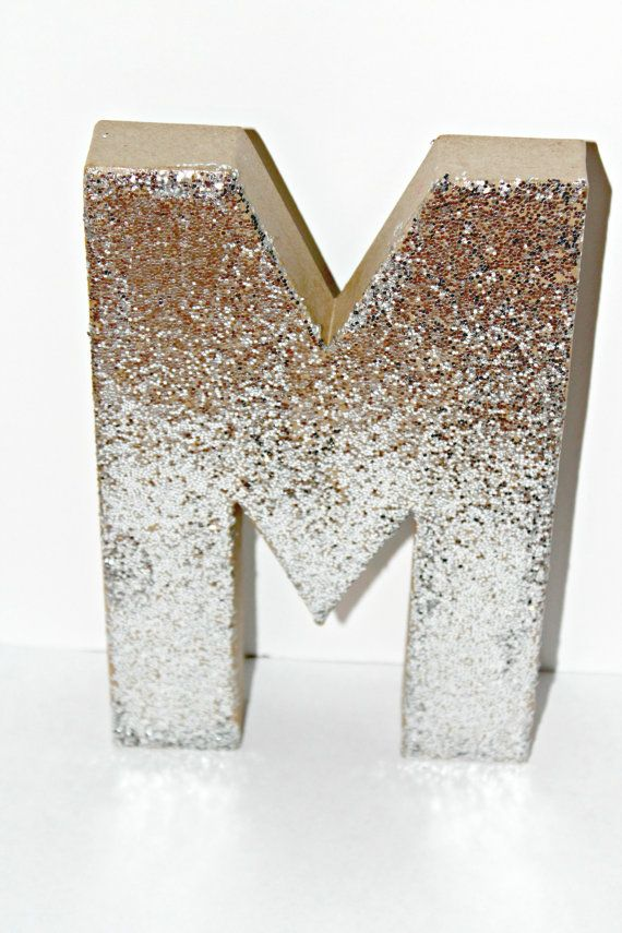 Silver and gold glitter cardboard letter decor a z and 1 9 for Glitter cardboard letters