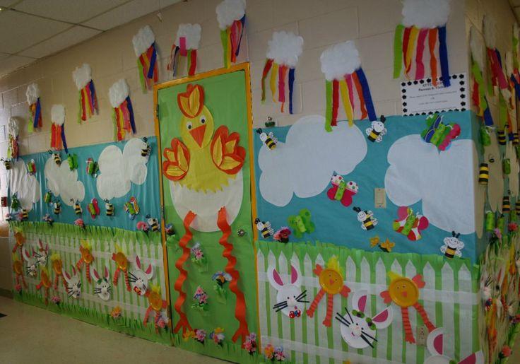 Classroom spring door hallway decoration classroom for Art and craft for classroom decoration