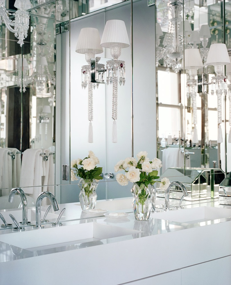 Baccarat crystal sconces, and mirrors inset on walls and the  | SO…