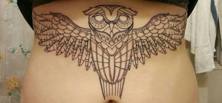 Geometric owl tattoo - photo#24