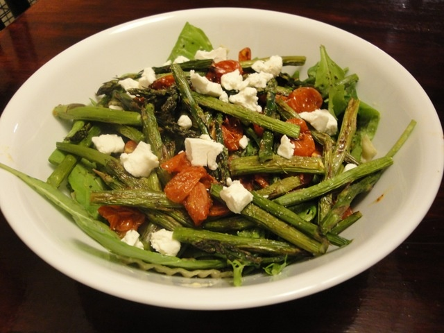 ... mustard, Garlic Gold, roasted asparagus and tomatoes, with goat cheese