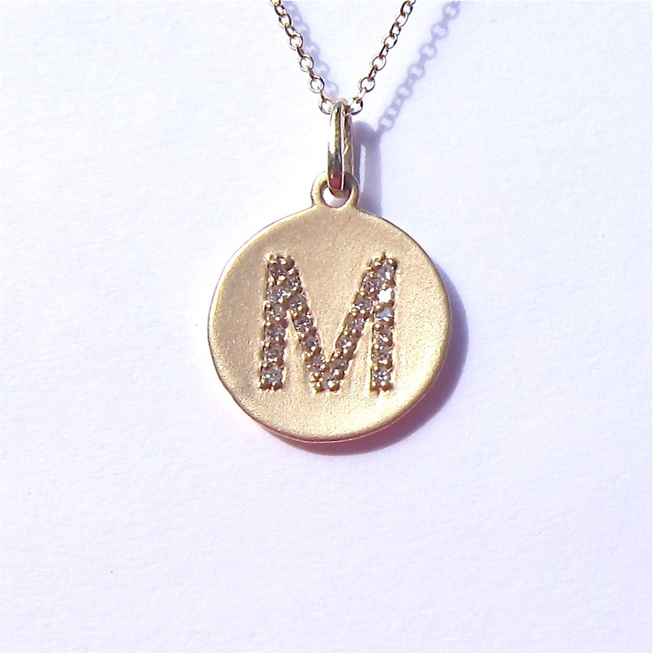 14k yellow gold initial disc pendant necklace