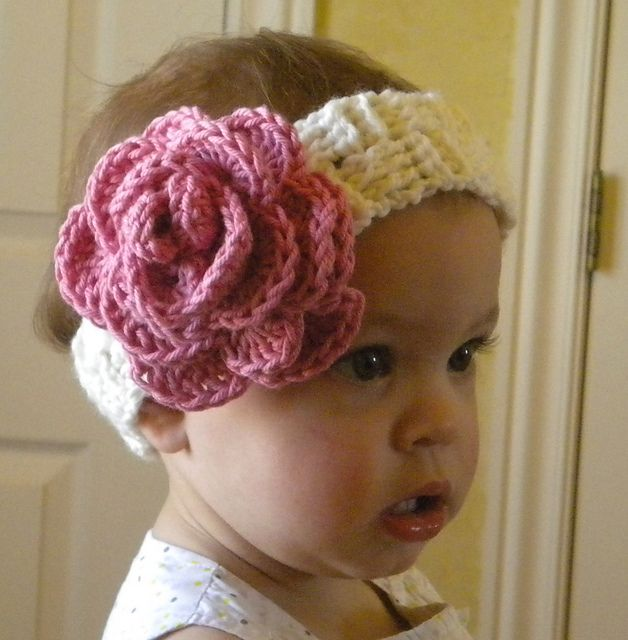 Crochet Headband Pattern Newborn : Basketweave Baby Crocheted Headband pattern by Josey B Harvey