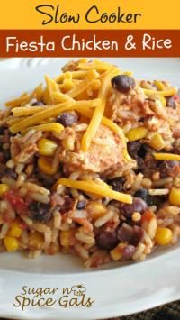 Slow Cooker Fiesta Chicken and Rice on MyRecipeMagic.com. Perfect ...