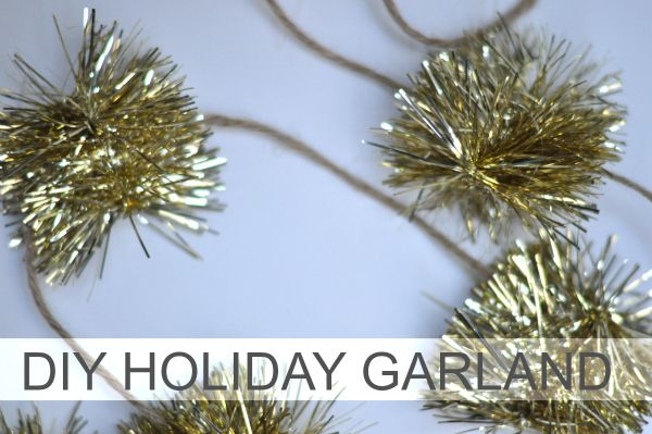 Super easy -- and super cute! -- DIY garland made out of tinsel and twine. I might substitute the twine for a thin ribbon... :o)