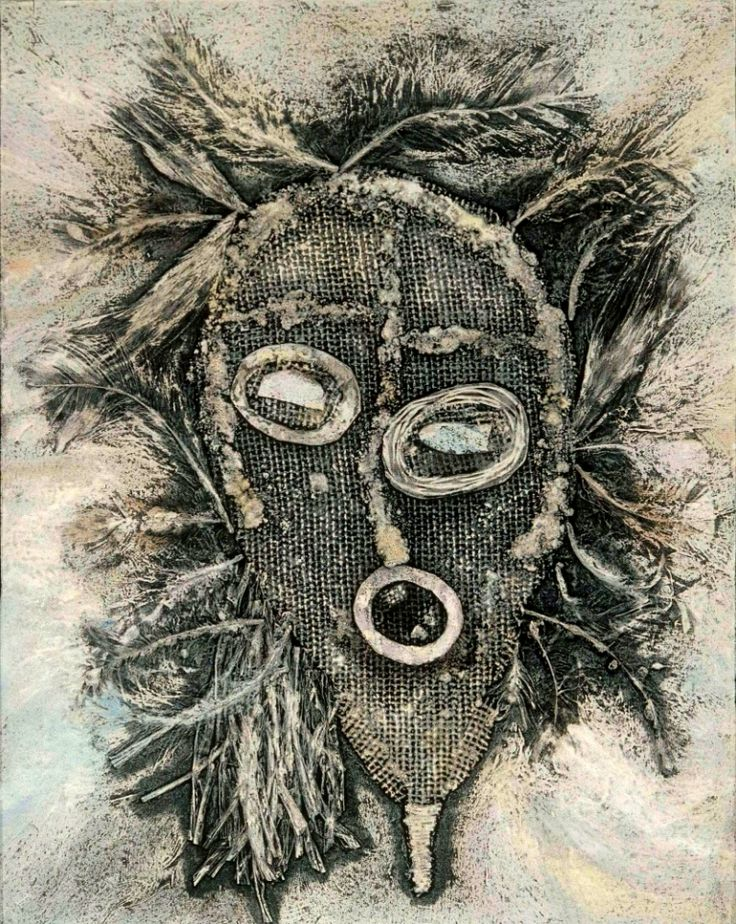 Marlene Grolnic ~ African Face Mask III collagraph