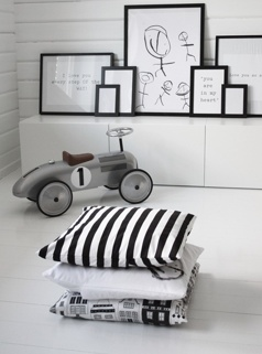 Boys Room, black and white frames