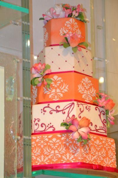 Pink And Orange Wedding | 1031-pink-and-orange-wedding-cake_we.jpg