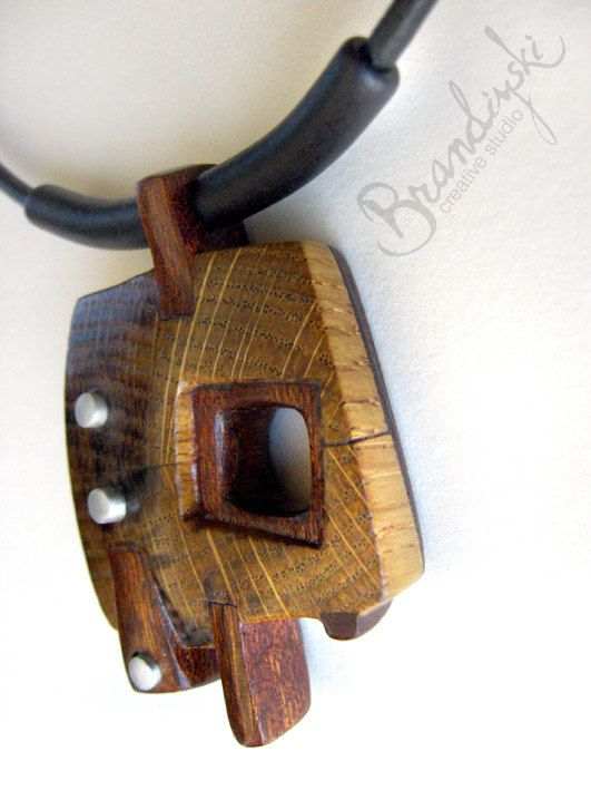 Wooden jewelry original handmade wooden necklace oak for How to make a wooden pendant