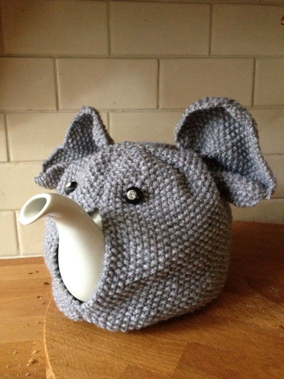 Tea Cozy Knitting Patterns : Hand Knitted Elephant Tea Cosy