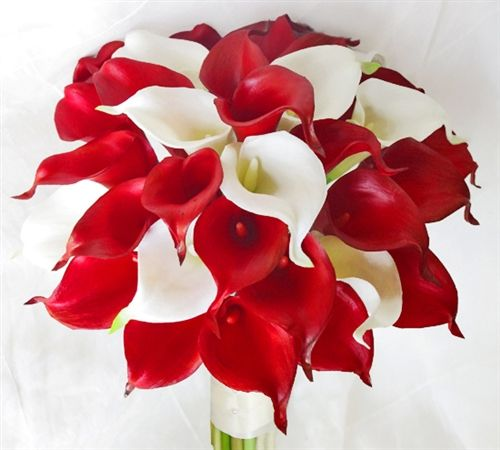 Red natural touch calla lilies bouquet add fillers