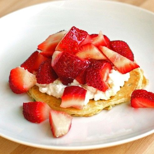 Strawberries and Cottage Cheese on Sweet Zucchini Pancakes