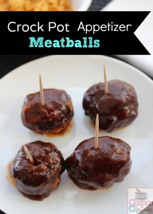 Crock pot meatballs tonya first things first pinterest for Meatball appetizer recipe crockpot