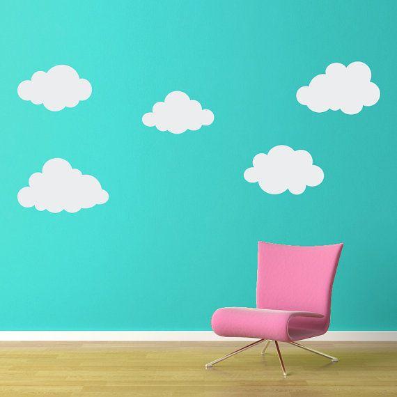 Puffy Cloud Wall Decal Set - Set of FIVE Clouds - Cloud Wall Art ...