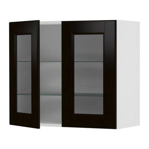 akurum wall cabinet with 2 glass doors white ramsj 246