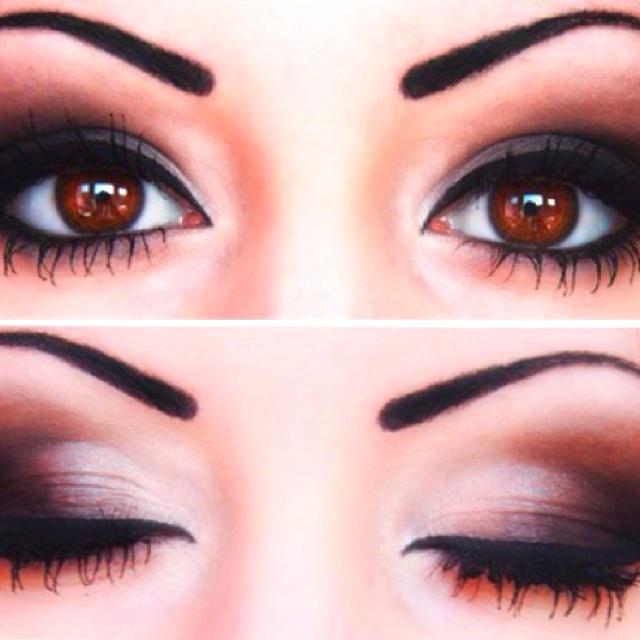 Love this dark smokey eye for brown eyes | hair | Pinterest