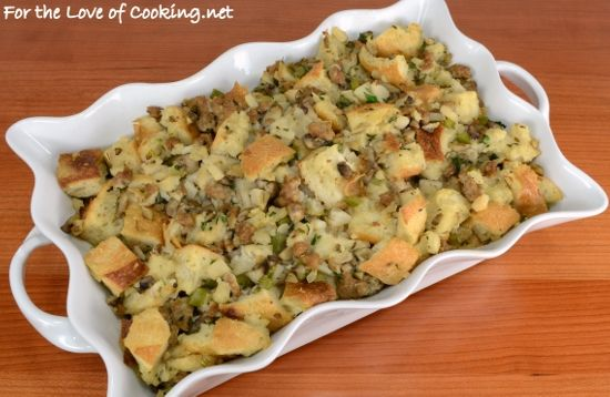 Stuffing with Turkey Italian Sausage, Mushrooms, and Chestnuts- Hold ...