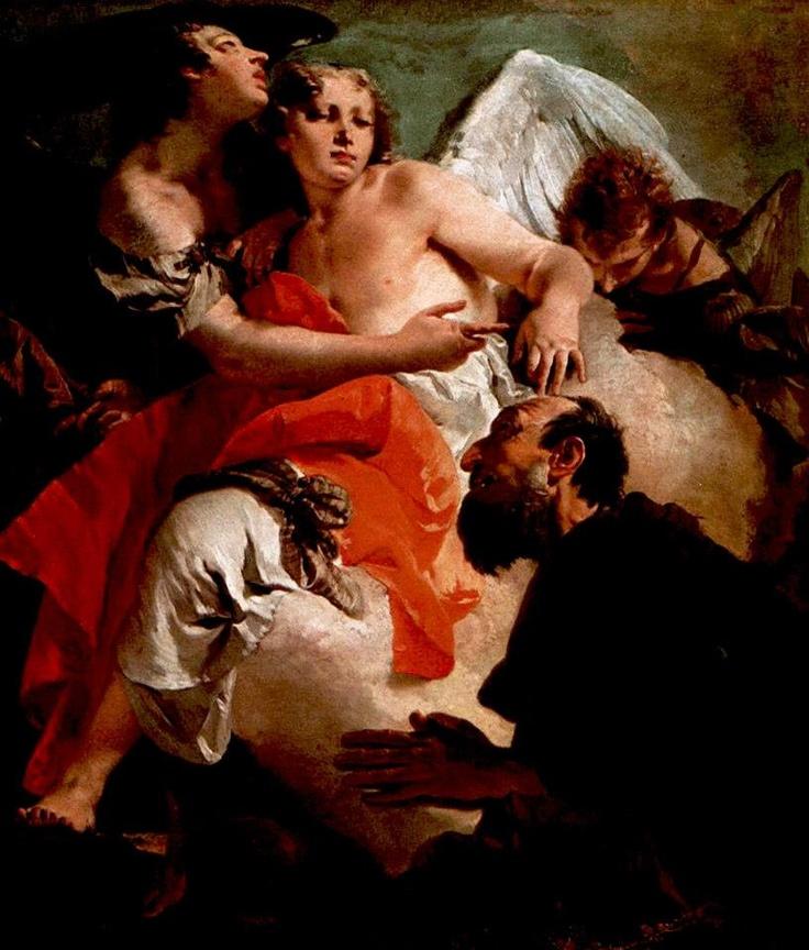Giovanni Battista Tiepolo - Abramo in preghiera di fronte ai tre angeli.  Scuola Grande di San Rocco (Venezia)