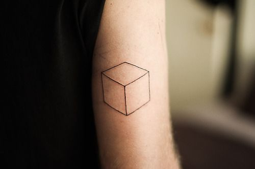 Cube Tattoo http://tattoos-ideas.net/cube-tattoo/ Arm Tattoos, Geometric Tattoos, Minimal Tattoos