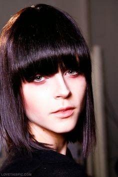 long bob violet black hair color