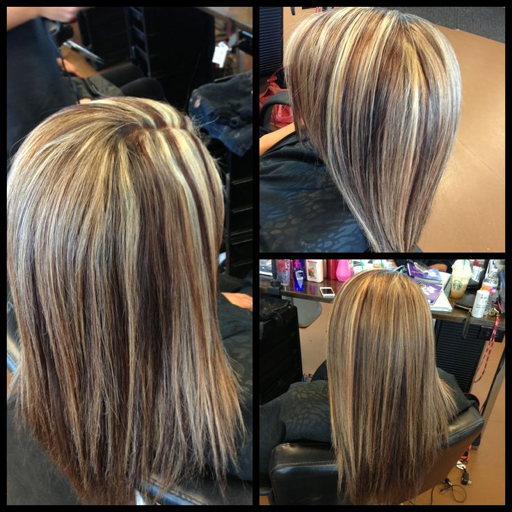 Chunky Foil Highlights Pictures   Dark Brown Hairs