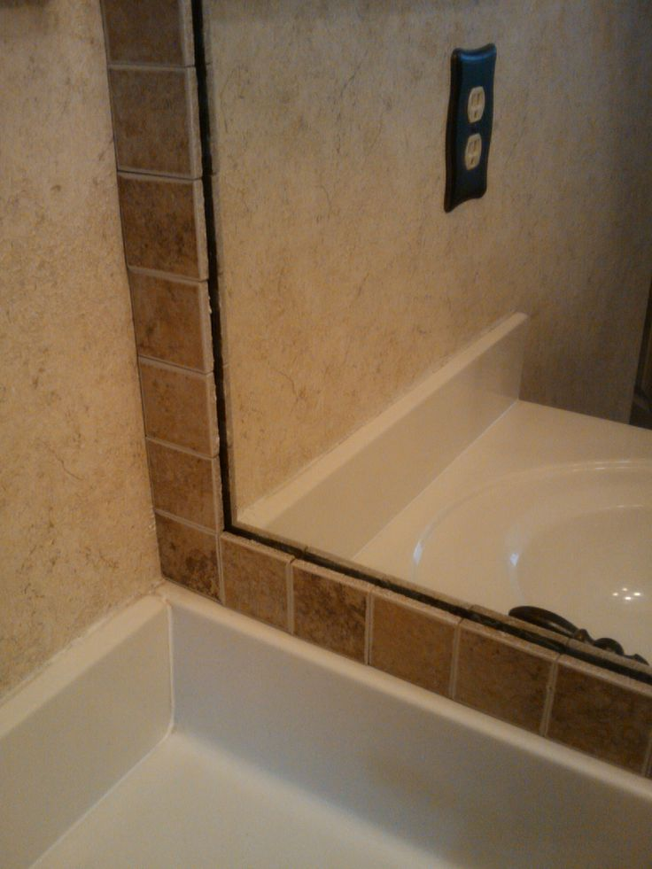 Tiled bathroom mirrors