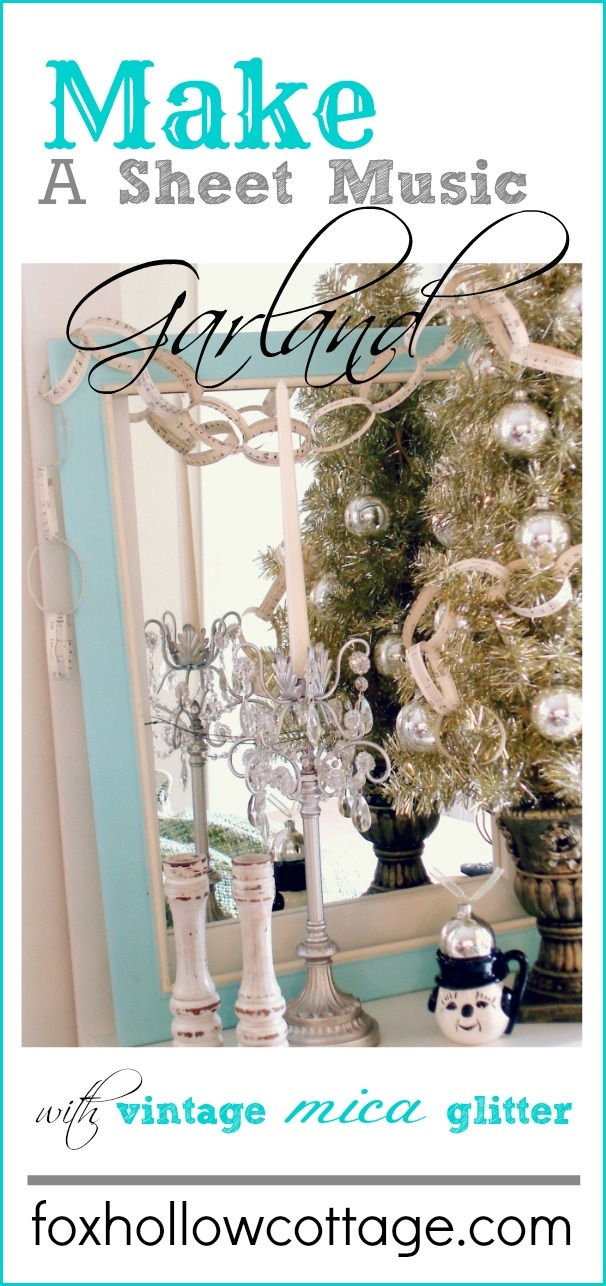 Make a Vintage Sheet Music #Garland -- #vintagechristmas #sheetmusic #christmascraft #christmasgarland #paperchain