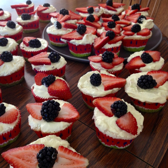 Angel food cake cupcakes, frosting made of vanilla pudding and cool ...