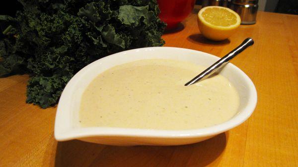 Kale Salad with Creamy Lemon Tahini Dressing | Recipe