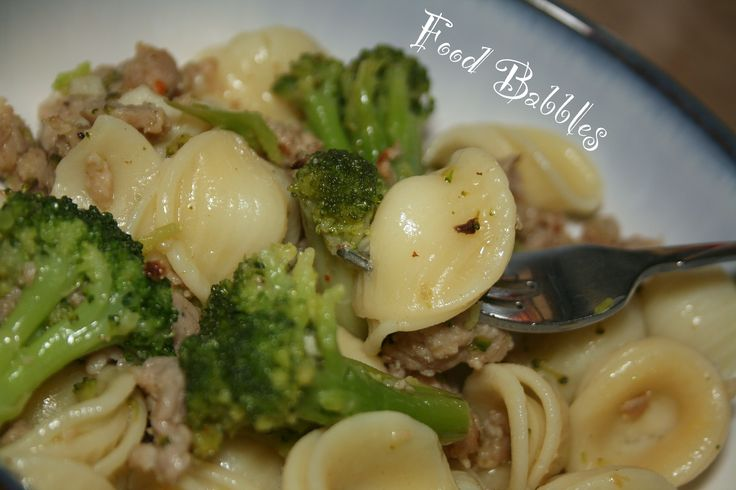 Spicy Orecchiette with Broccoli & Sausage - FoodBabbles.com