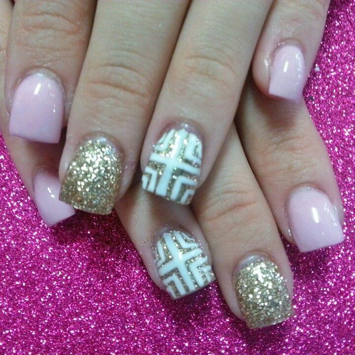 pink and gold nails | nail art design | Pinterest