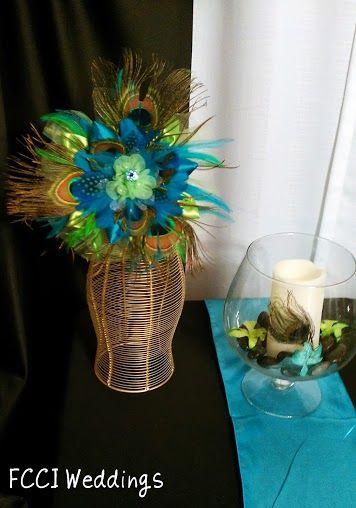 Peacock inspired wedding centerpieces